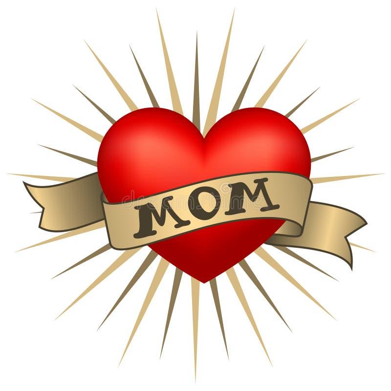 Coração retro da tatuagem com fitas do ouro e mamã da palavra Vetor ilustração do vetor