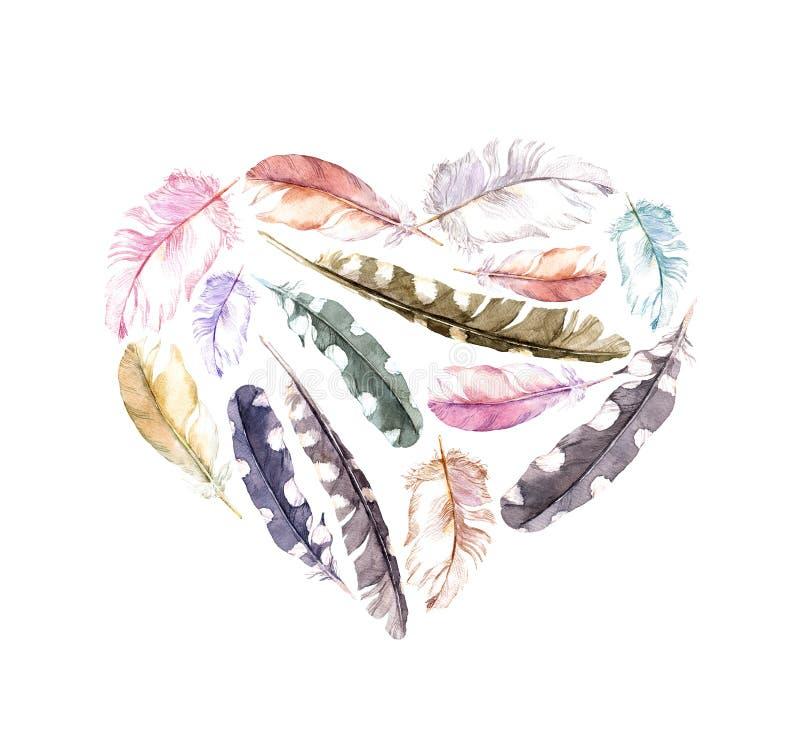 Coração retro - penas de pássaro Aquarela do vintage ilustração stock