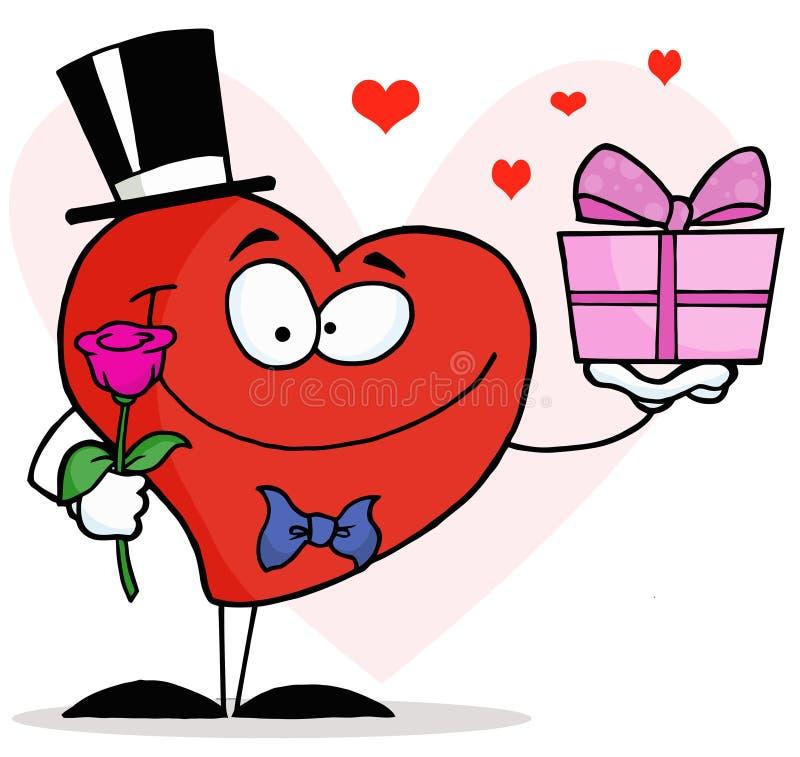 Coração romântico do cavalheiro que prende uma única Rosa ilustração royalty free