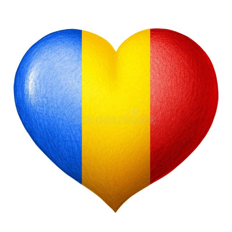 Coração romeno da bandeira isolado no fundo branco Desenho de lápis ilustração do vetor