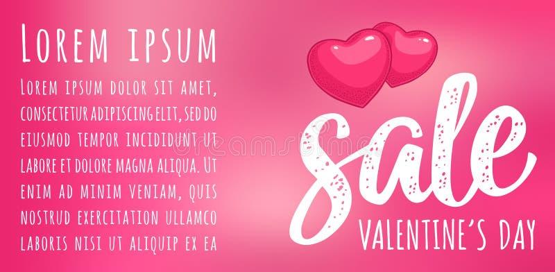 Coração Rotulação caligráfica da escrita do dia de Valentim da venda Gravura da cor do vetor ilustração do vetor
