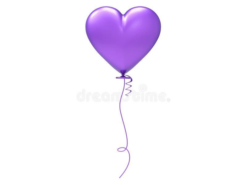 coração roxo do balão da ilustração 3D ilustração stock