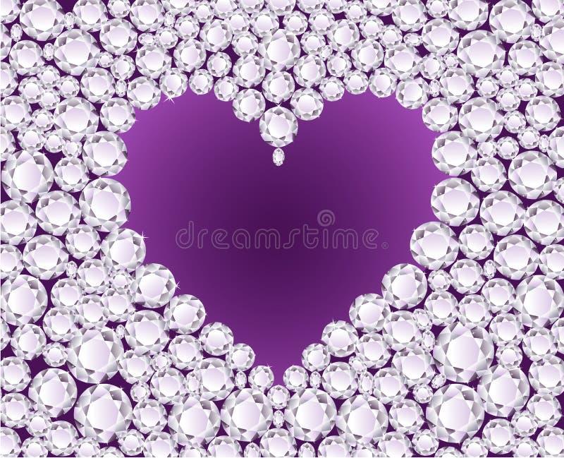 Coração roxo do vetor no fundo do diamante ilustração stock