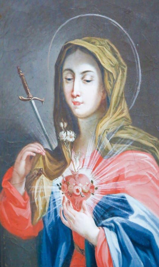 Coração sagrado de Mary - pintura em Fussen, Alemanha imagem de stock