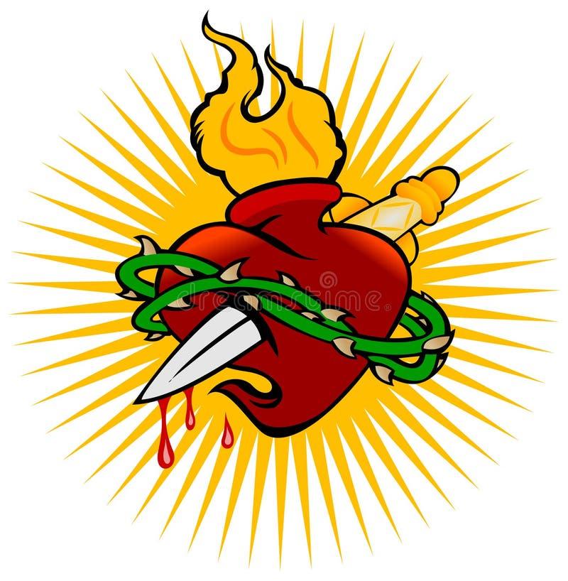 Coração sagrado e faca do incêndio ilustração stock
