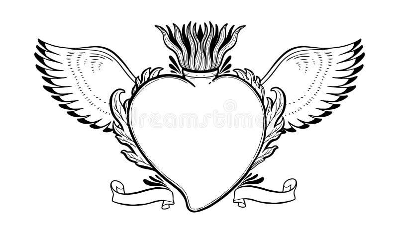 Coração santamente sagrado Jesus Símbolo da religião do sacramento Cópia tirada do ícone mão místico Simbol de México ilustração do vetor