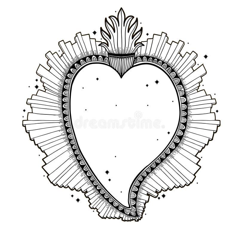 Coração santamente sagrado Jesus Símbolo da religião do sacramento Cópia tirada do ícone mão místico Simbol de México ilustração royalty free