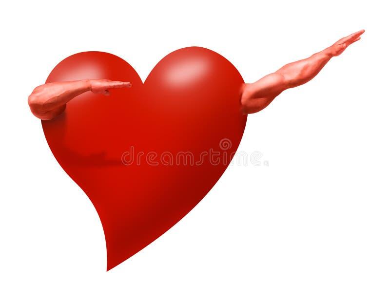 Coração saudável com os braços musculares fortes que representam a saúde ilustração royalty free