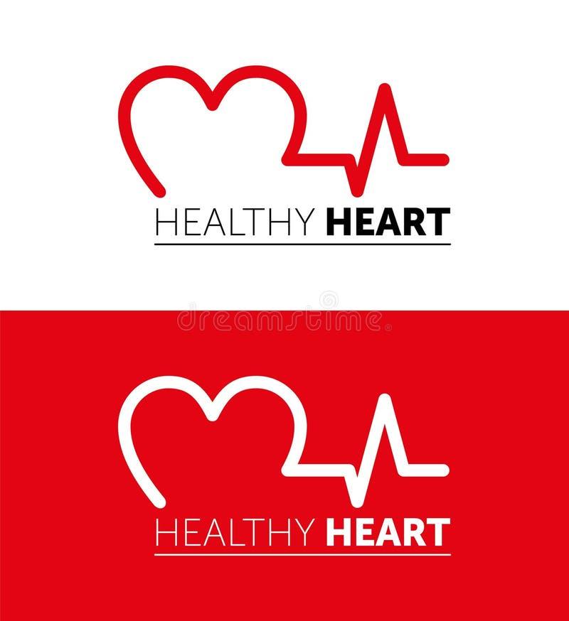 Coração saudável do logotipo Linha projeto do vetor Ilustra??o vermelha Projeto gr?fico ilustração stock
