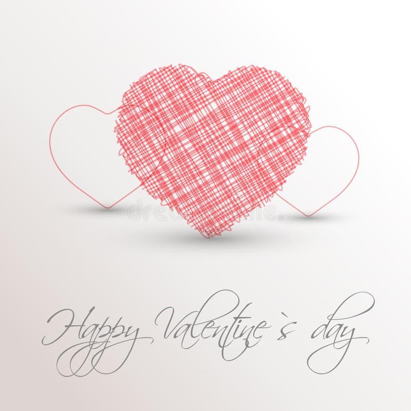 Coração scribbled rosa ilustração do vetor