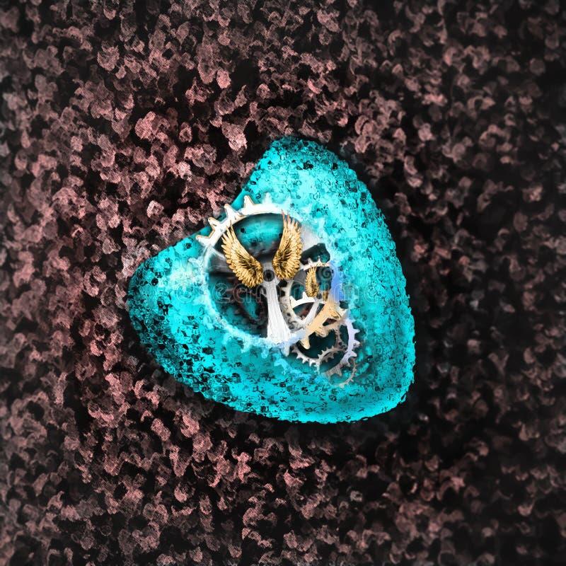 Coração seguro Coração mecânico imagem de stock