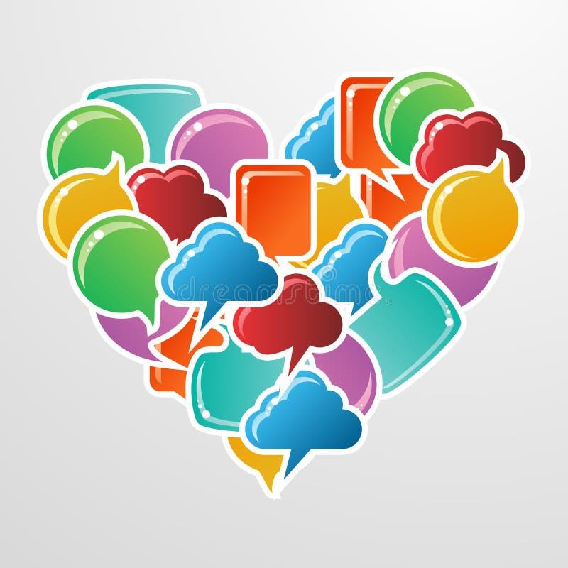 Coração social do amor das bolhas dos media ilustração stock