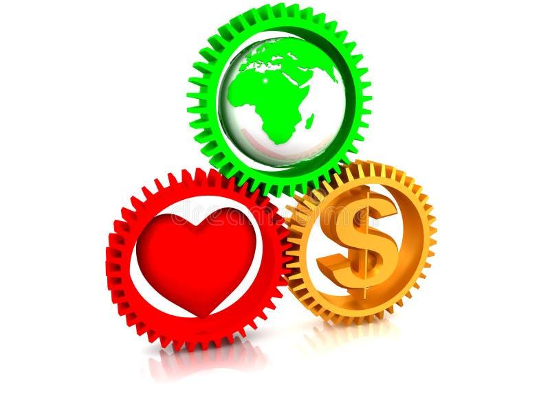 Coração, terra, dinheiro na engrenagem ilustração stock