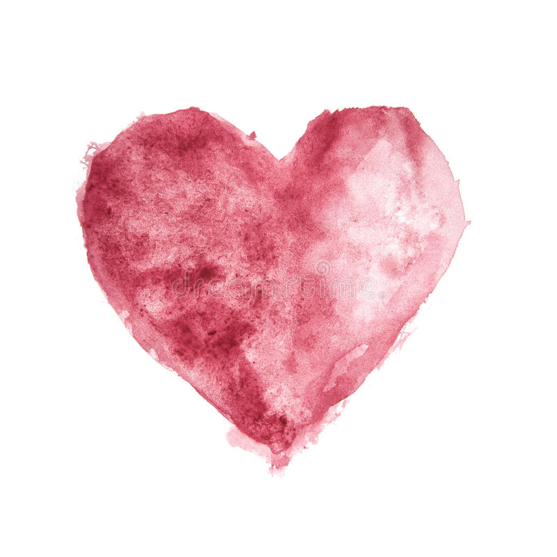 Coração Textured pintado Watercolour da cor de Borgonha ilustração royalty free