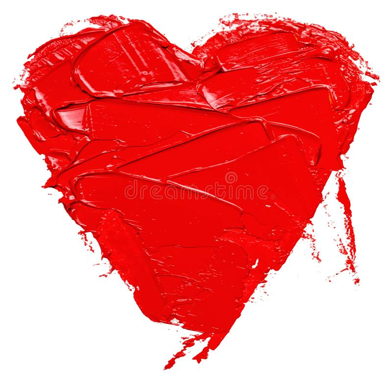 Coração tirado da cor de óleo mão vermelha, isolado ilustração do vetor