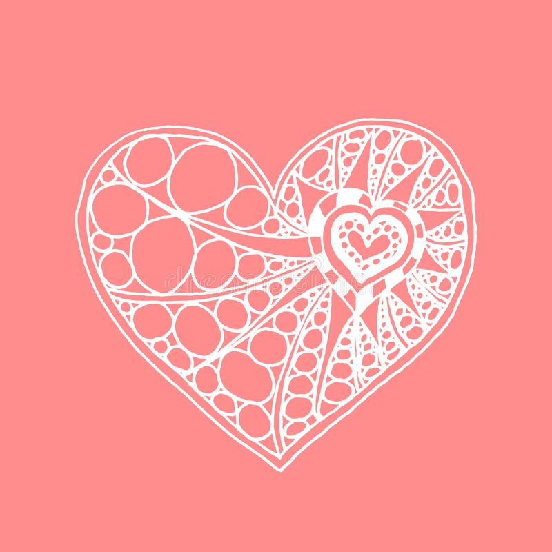 Coração tirado mão da garatuja do vetor Coração branco no fundo cor-de-rosa ilustração stock