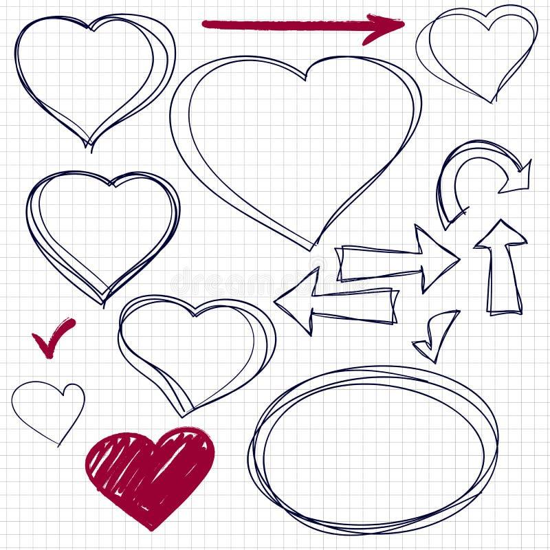 Coração tirado mão do garrancho ilustração do vetor