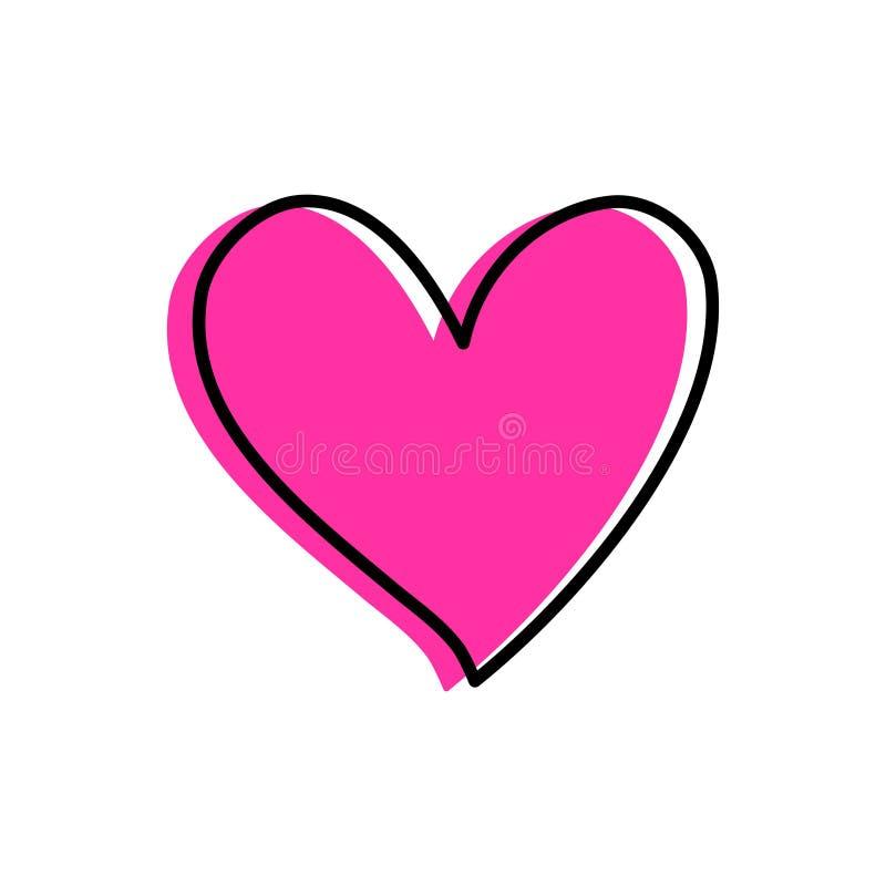 Coração tirado mão do rosa do estilo ilustração stock