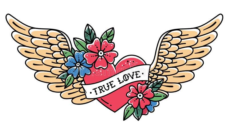 Coração tirado mão do voo da tatuagem com asas Coração da tatuagem com fita e flores Tatuagem com AMOR VERDADEIRO da frase ilustração do vetor