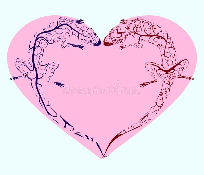 Coração torcido lagartos ilustração stock