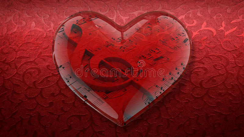 Coração transparente com clave de sol e partitura no fundo vermelho foto de stock