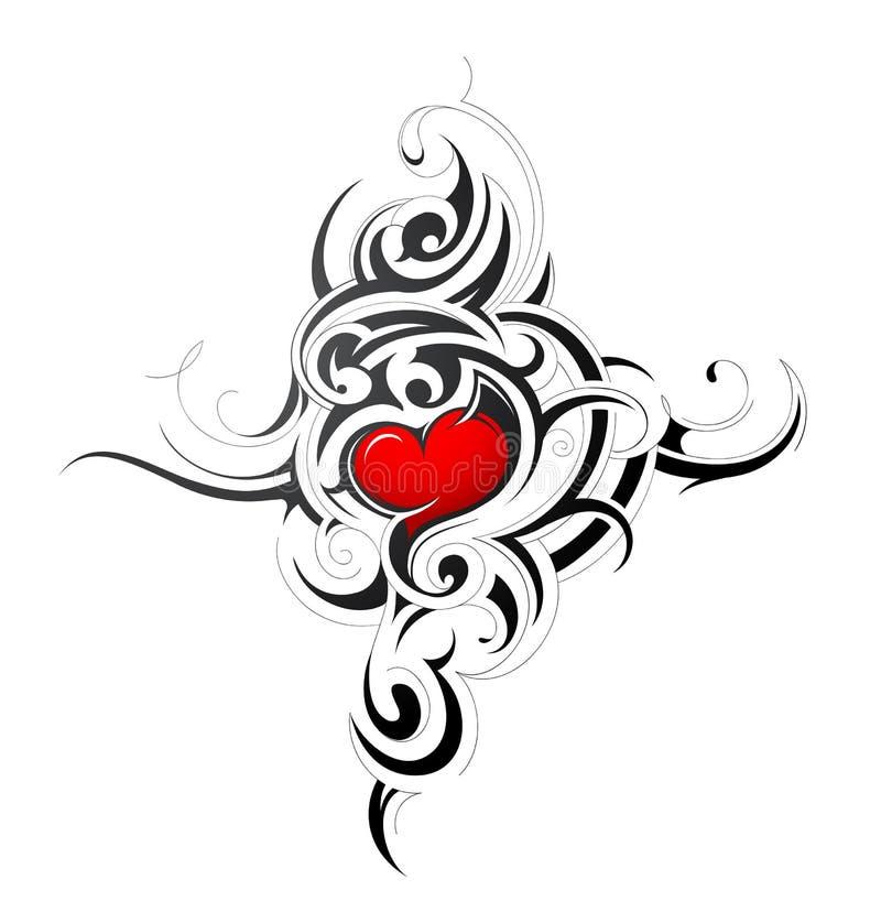 Coração tribal ilustração do vetor