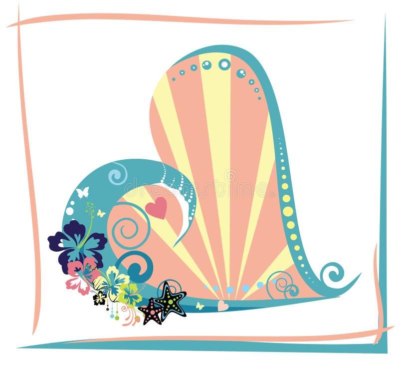 Coração tropical ilustração royalty free