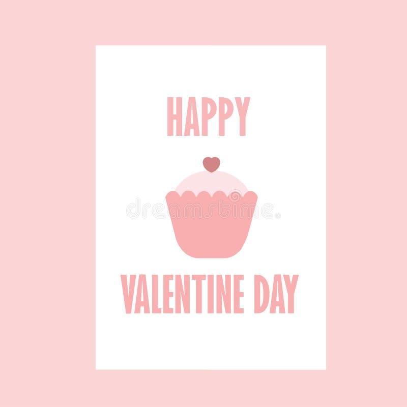 Coração Valentine Day With Color Pink feliz do bolo - romântico - eu te amo ilustração do vetor
