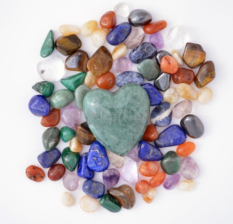 Coração verde de quartzo imagens de stock royalty free