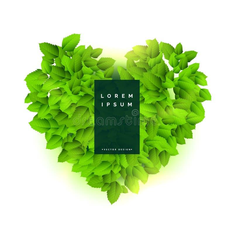 Coração verde feito com folhas ilustração stock