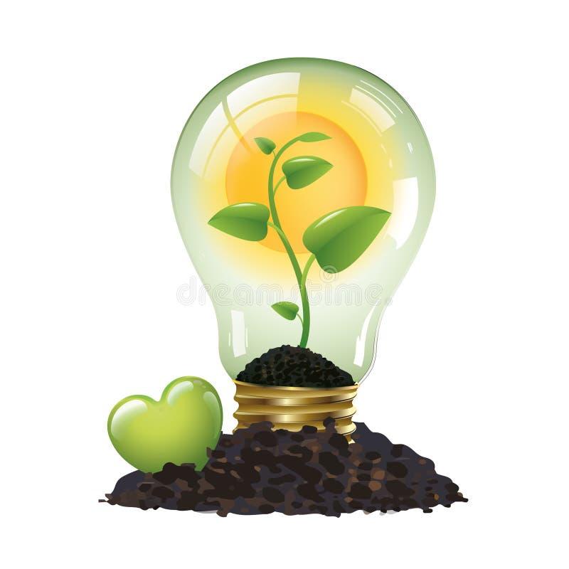 Coração verde para uma boa energia - conceito ecológico - logotipo ilustração stock