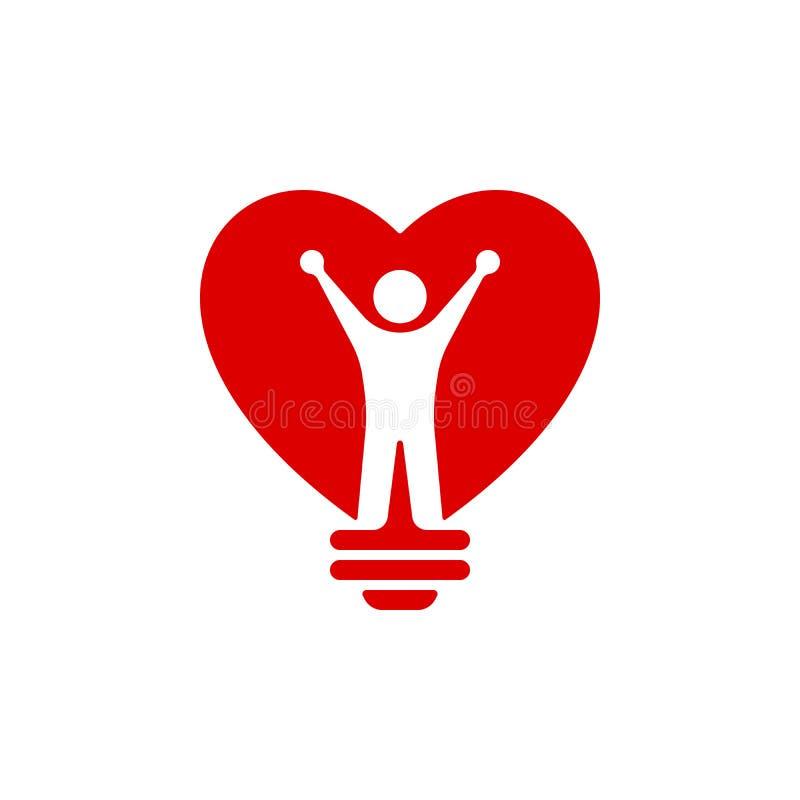 Coração vermelho ícone dado forma do bulbo ilustração royalty free