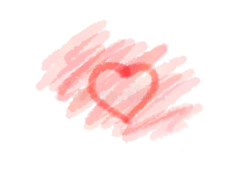 Coração vermelho abstrato da cor de água da tinta e para encher-se no fundo branco para a venda, a bandeira ou o texto ilustração royalty free