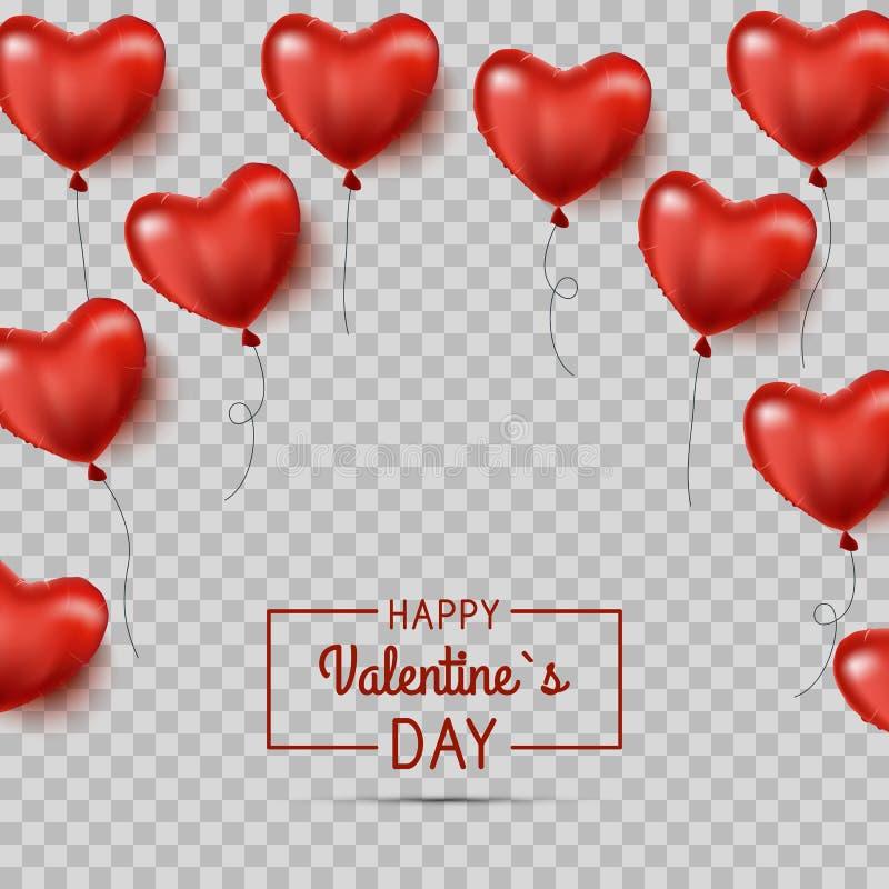 Coração vermelho balões dados forma O fundo do dia do Valentim s com corações vermelhos balloons Vetor ilustração do vetor