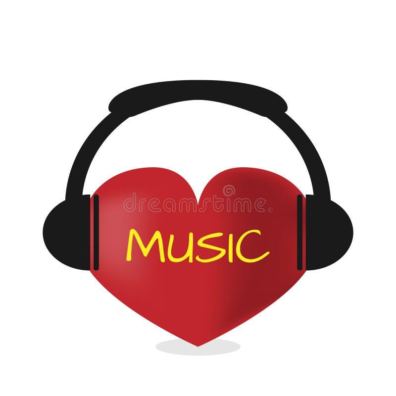 Coração vermelho com auscultadores Música do texto escutar ilustração royalty free