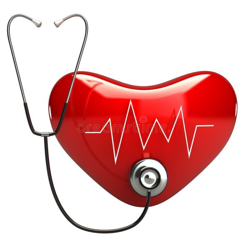 Coração vermelho com cardiogram e estetoscópio ilustração do vetor
