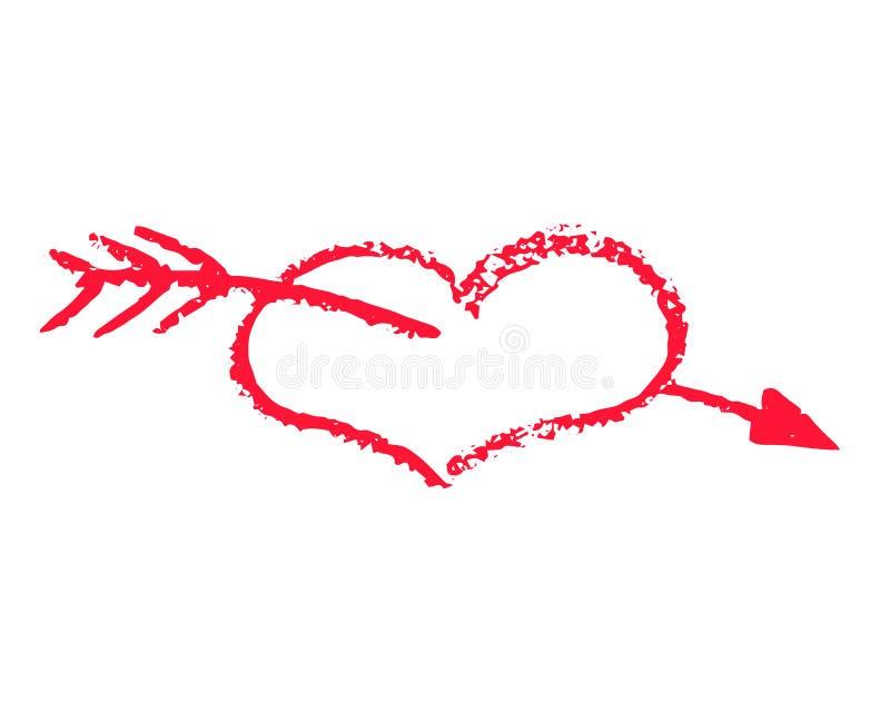 Coração vermelho com ilustração do vetor da seta no fundo branco Clipart do St Valentine Day Coração vermelho da textura do giz ilustração stock