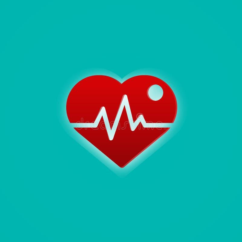 Coração vermelho com onda do pulso Conceito médico e do símbolo Tema abstrato do ícone ilustração stock