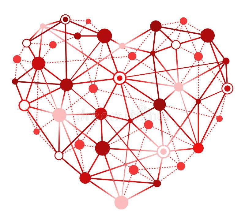 Coração vermelho com pontos de conexão ilustração royalty free