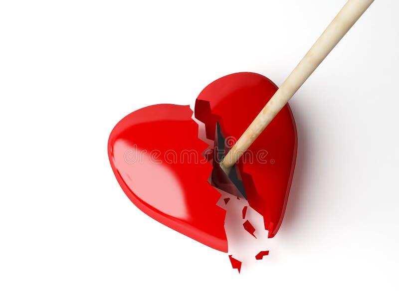 Coração vermelho com seta. ilustração royalty free