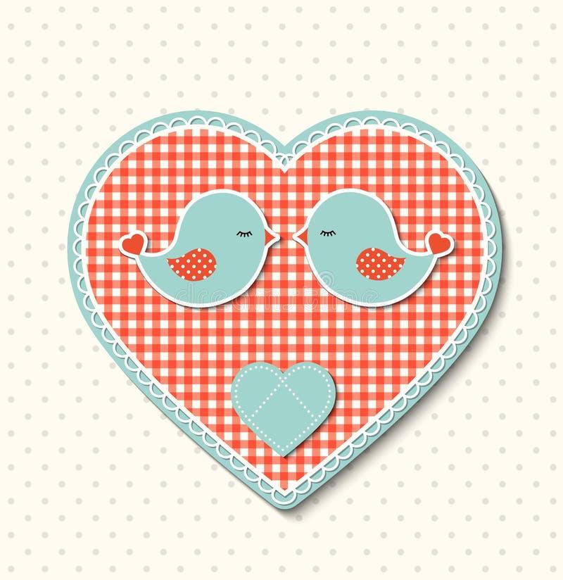 Coração vermelho com textura da lona e os dois pássaros bonitos, ilustração ilustração royalty free