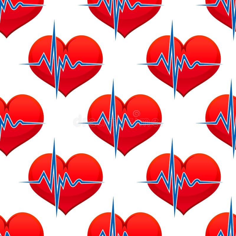Coração vermelho com um pulso do batimento cardíaco ilustração stock