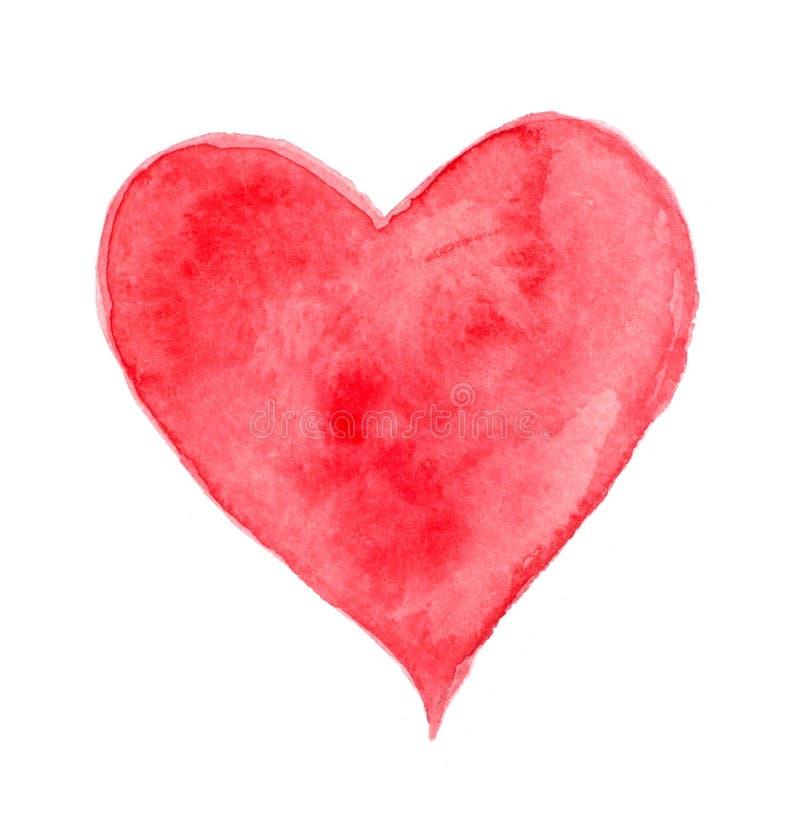 Coração vermelho da aquarela fotografia de stock royalty free