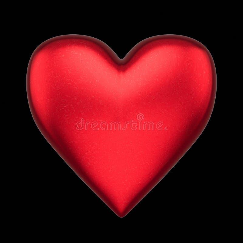 Coração vermelho de flutuação isolado do amor em um fundo preto ilustração stock