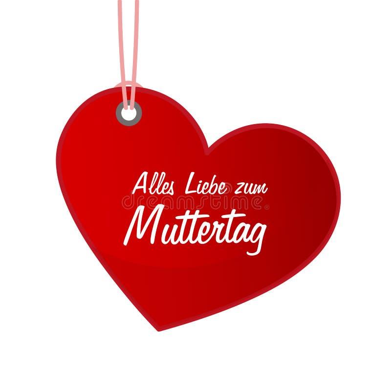 Coração vermelho de mãe de rotulação da caligrafia do dia de mães da etiqueta alemão feliz do dia ilustração royalty free