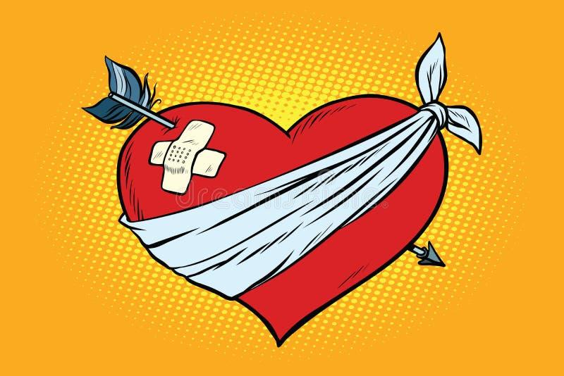 Coração vermelho do amor ferido com seta do cupido ilustração do vetor
