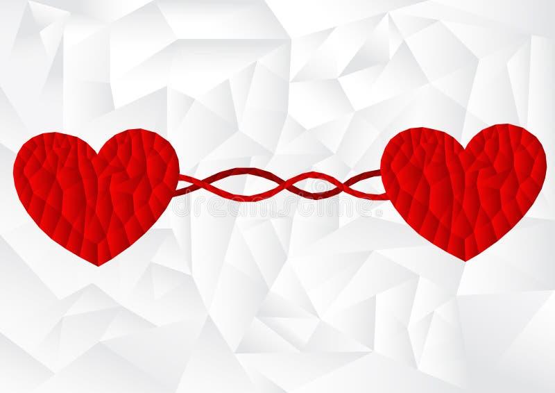 Coração vermelho do polígono com linha da curva no fundo branco, vetor ilustração do vetor