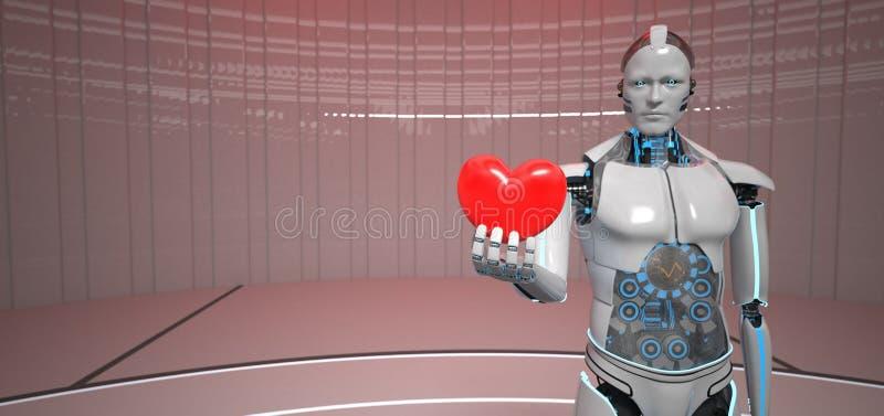 Coração vermelho do robô Humanoid ilustração stock