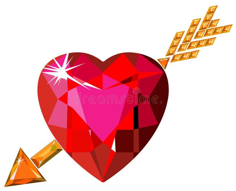 Coração vermelho do rubi golpeado pela seta de Cupid ilustração do vetor