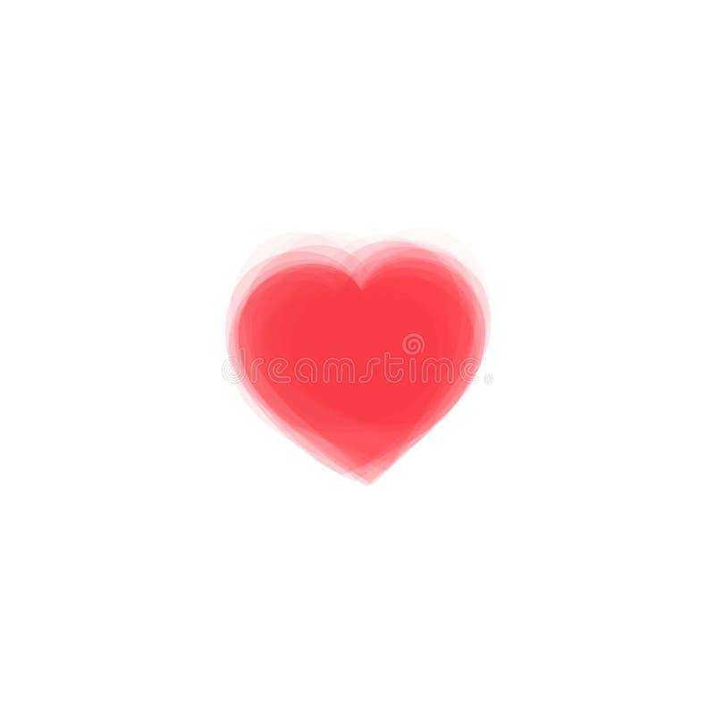 Coração vermelho do sumário do vetor Similar à pintura, projeto de tiragem ilustração stock